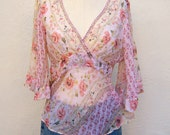 Floral peasant blouse / sheer boho top, pink rose 90s-does-70s, bat wing three quarter sleeves, empire waist, medium, 36 bust