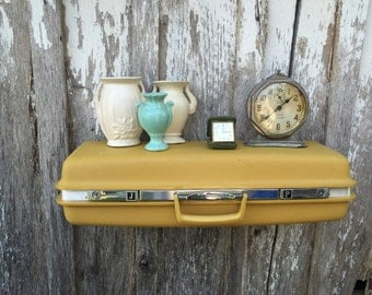 Wall Shelf made from a Harvest Gold 1970's Era Upcycled Samsonite Suitcase Luggage Repurposed Travel Inspired