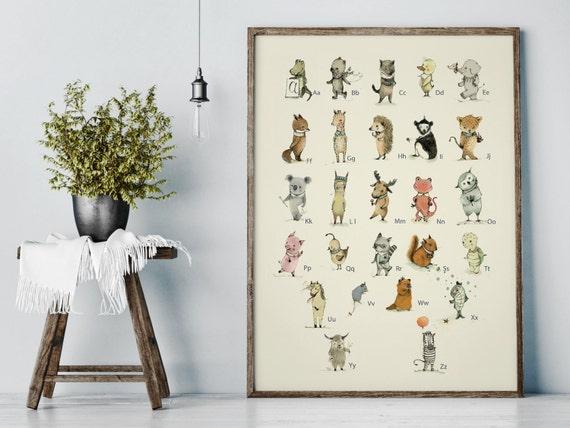 Alphabet poster - Alphabet art - Alphabet print - ABC wall art - ABC print - Nursery art - Nursery decor - Kids room decor - Children's art