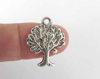 12 Tree Charms in Antique Silver - 22mm x 17mm