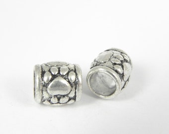 20 Paw Print Tube Beads in Antique Silver - Lead free - Large Hole 6mm - Textured Design