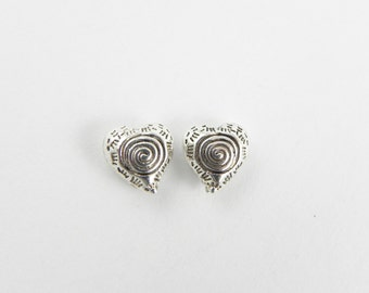 24 Heart Spacer Beads 8.5mm x 8.5mm - Antiqued Silver - double sided
