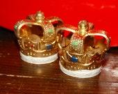 Vintage Cake Toppers, Crown, Princess Crown, Jeweled Crown Cake Toppers, Golden Crown (2)