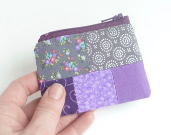 purple mini zipper pouch. flash drive case. jewelry pouch small. earbud pouch holder. pill safety pin case. party favor girl grey lavender