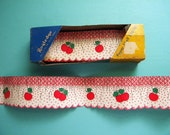 Vintage Royledge Shelf Paper Edging with Cherries on Scalloped and Smocked Paper