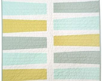 Modern Quilt - Baby/Pet Quilt - Keyboard (Blue+Green)