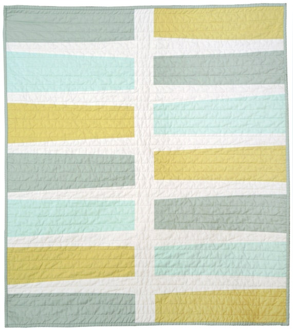 Modern Quilt - Baby/Pet Quilt - Keyboard (Blue+Green)