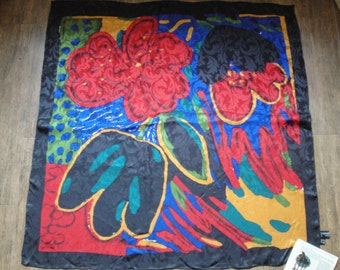 Vintage Tanago Monsieur 34 inch square silk scarf, Fabulous abstract floral in gold, black, blue, green and red, Bonus magnetic brooch