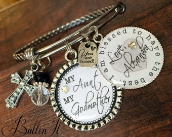 Godmother gift, Aunt gift, charm bracelet, BANGLE bracelet, Custom jewelry, PERSONALIZED jewelry, blessed, cross charm, Baptism gift