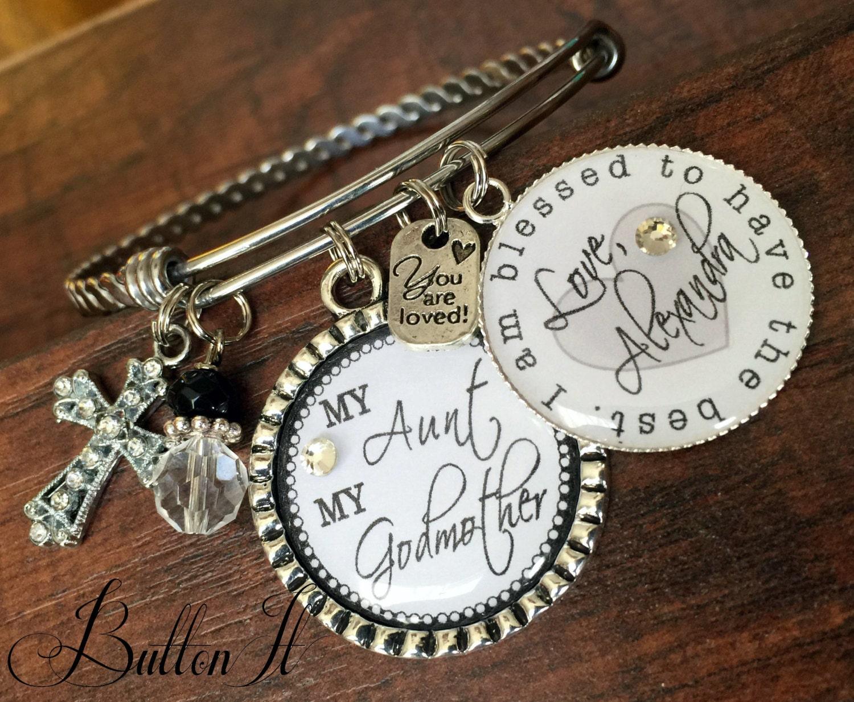 Gift For Godmother Godmother Gift Mothers Day Gift: Godmother Gift Aunt Gift Charm Bracelet BANGLE Bracelet