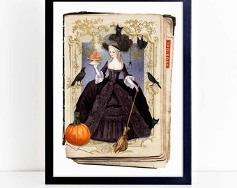 Halloween witch print with Marie Antoinette, vintage gothic decor, A4 giclee