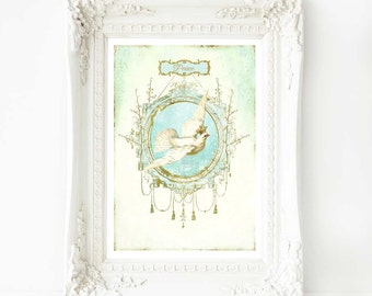 Dove of peace print, vintage bird art in blue, cream and gold, A4 Giclee