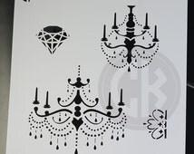"""Cookie Stencil - Chandeliers, Crown & Diamond - 6""""x6"""""""