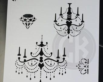 """Cookie Stencil - Chandeliers, Crown & Diamond - 6""""x6"""" Laser Cut- Cankeep"""