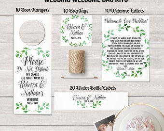 Wedding Welcome Bag Kit, Destination Wedding, Hotel Welcome Bag, Wedding Favor, Guest Welcome Bag, Out of Town Bag, Watercolor Wedding Decor