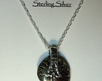 Rare PYRITIZED AMMONITE Fossil Shell Sterling Silver Pendant Chain Necklace Rare Pyritized Ammonite 140 Million Year Old Fossil From Russia