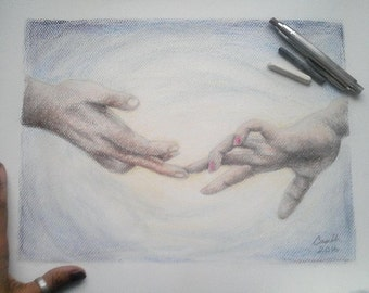 "Drawing Hands Fingers Touching Love Realism - Original Drawing 12"" x 16"" READY to SHIP"