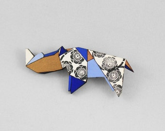 Wooden Animal Brooch,Origami Rhino Brooch,Geometric Brooch,Origami Jewellery,Paper Anniversary Gift,Rhino Jewellery,Paper Brooch,Geometric