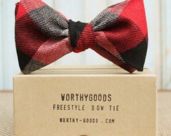 Red Flannel Bow Tie Red Black Grey Check Butterfly Groom Winter Wedding Photo Prop 2016 Maine East Coast Style