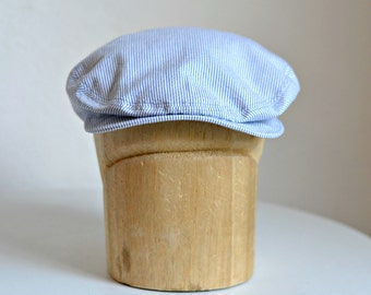 Men's Driving Cap in Blue and White Seersucker Cotton - Men's Flat Cap - Made to Order