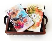 Jiji from Kiki's Delivery Service and Kodama from Princess Mononoke Studio Ghibli Homage Zipper Bag