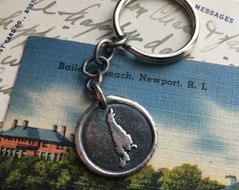 Newport key chain - Aquidneck Island wax seal key ring key chain … home sweet home - sterling silver wax seal accessory gift