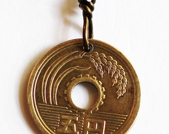 Good Luck Coin Keychain, Japanese 5 Yen Keychain, Japanese Coin Keyring, Coin Keyring Handmade Japanese Coin Key Ring by Hendywood KCE7