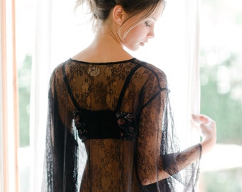 Heirloom Bridal Robe in Black Italian Lace
