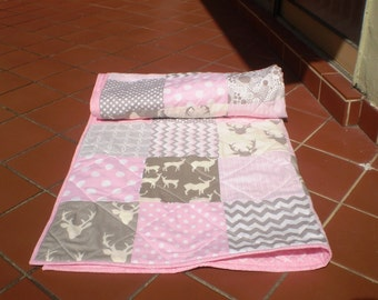 Baby quilt,Baby girl bedding,baby girl quilt,crib quilt,pink,grey,deer baby quilt,woodland, deer,stag,organic,chevron,toddler,Rustic in Pink
