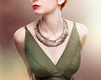 SALE 25% OFF- bib necklace bronze metal industrial