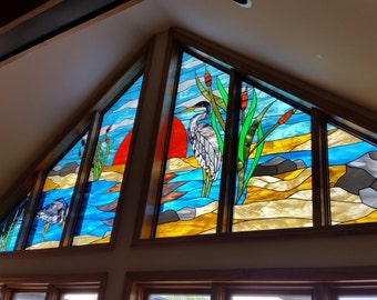 "Stained Glass Window - ""Herons on the sunset"" (W-95)"