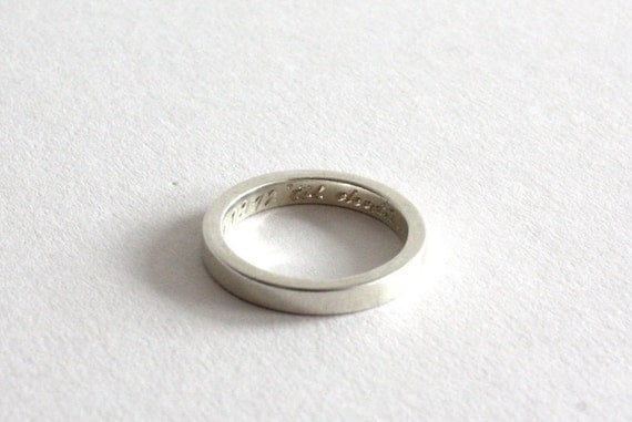 Engraved Silver Band, Handmade Sterling Silver Wedding Ring, 3mm Flat Band, Personalised, Hand Engraved to Order, Made in England