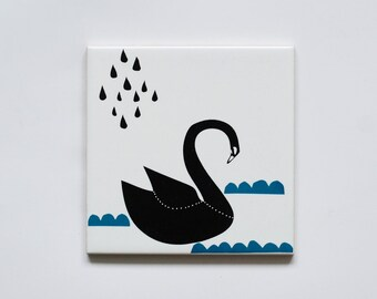 Small screenprinted tile Black swan