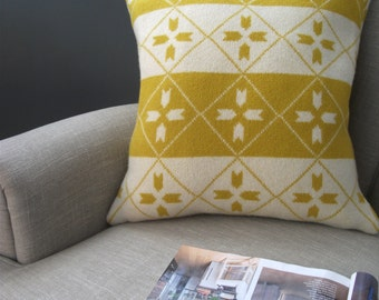Winter Lambswool Pillow / Cushion - Including Feather Insert - yellow, cream