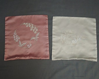 Vintage Pillow Covers Mauve & Ivory Embroidered Sateen 1980s Swans and Flowers