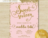 Sweet 16 Invitation, Gold Glitter, Sweet Sixteen Cards, Mint and Peach, Eco friendly Soy Ink, FREE PRIORITY SHIPPING or DiY Printable