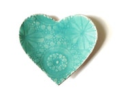 Seafoam heart plate Turquoise blue stoneware ceramic pottery Lace crochet imprint Home decor Soap dish Catch all Ring saver Dessert plate