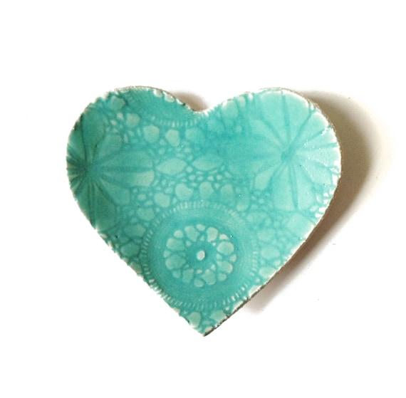 Seafoam heart plate Turquoise blue stoneware ceramic pottery Lace crochet imprint Home decor Soap dish Catch all Ring saver Dessert plate