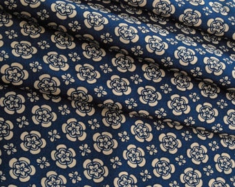 Vintage Japanese Kimono Fabric - Unused - Blue and Bone Stencilled Design