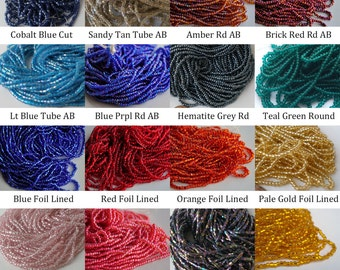 Czech Glass Seed Bead Hanks YOU CHOOSE COLOR Sz 2mm 11/0 10/0