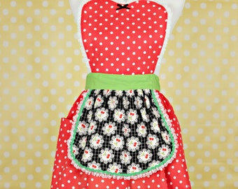 APRON  Cherry print retro apron  with red  polka dots womens full apron flirty hostess gift vintage inspired flirty