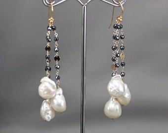 Lustrous Baroque Pearl earrings , Hematite long cluster dangle gold earrings, Vermeil hooks ... CEYLA Earrings