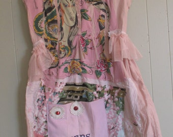 pink pioneer prairie  Vintage Linens Dress -   Collage Clothing - Eclectic Artisan Wearable Folk Art + myBonny