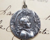 Sterling St Joan of Arc Battle Flag Medal - Patron of strong women - Antique Reproduction