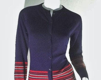 GIVENCHY Designer Vintage 70s Nylon Knit Cardigan Sweater S