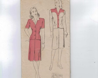 1940s Vintage Sewing Pattern New York 698 MissesTop Piece Dress Size 14 Bust 32 40s