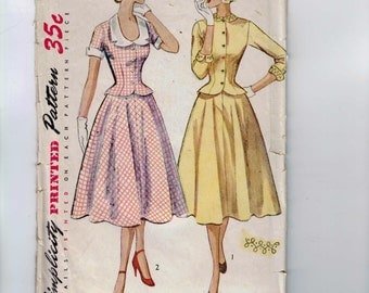1950s Vintage Sewing Pattern Simplicity 3624 Junior Misses Two Piece Dress New Look Full Skirt Size 11 Bust 29 50s