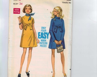 1960s Vintage Sewing Pattern Butterick 5520 Misses Easy Maternity Tie Front Princess Seam Mini Dress Size 12 Bust 32 60s