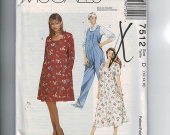 1990s Sewing Pattern McCalls 7512 Misses Easy Maternity Overalls Jumpsuit Dress Button Front Size 12 14 16 Bust 34 36 38 UNCUT 90s