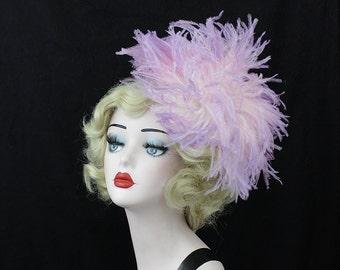 Lavender Purple Feather Fascinator, Ostrich Feather Headpiece, Purple Hair Accessory, Unique Bridal Headpiece, Burlesque Cabaret Costume